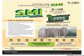 Pay no pre-EMI till possession at Gaur Atulyam in Greater Noida