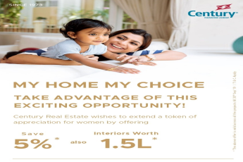 Century Real Estate offers 5% discount for women on all projects in Bangalore