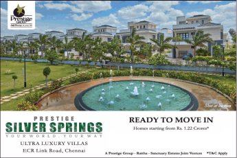 Homes starting from Rs 1.22 Cr at Prestige Silver Springs, Chennai