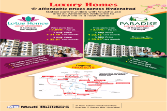 Luxury homes at affordable prices by Modi Builders, Hyderabad