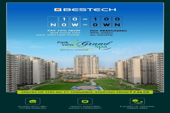 Pay 10 now and move into your own new home at Bestech Park View Grand Spa in Sector 81 Gurgaon