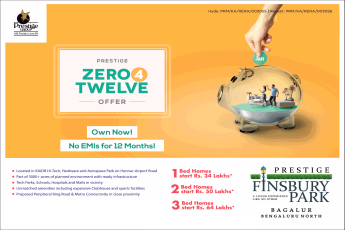 Own now no EMIs for 12 Months at Prestige Finsbury Park, Bangalore