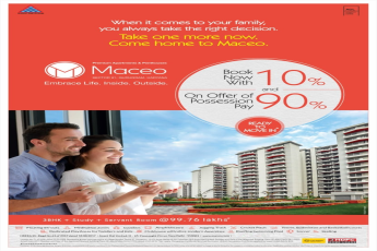 Book now with 10% and on offers of possession pay 90% at Anant Raj Maceo, Gurgaon