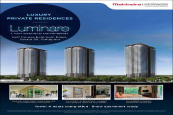 Tower A is near completion & Show apartment is ready in Mahindra Luminare
