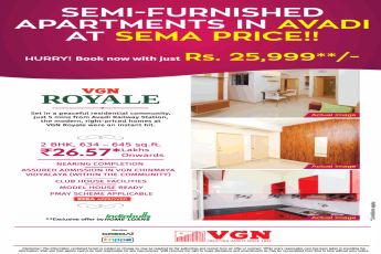 Book your home now with just Rs 25,999 at VGN Royale in Chennai