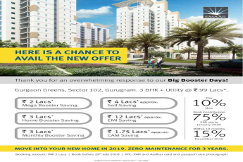 Book 3 BHK + Utility @ Rs. 99 Lacs at Emaar MGF Gurgaon Greens in Gurgaon