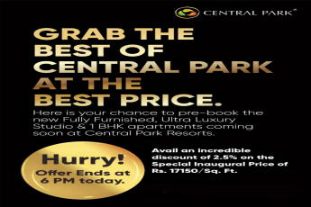 Avail an incredible discount of 2 5 on the special inaugural price of Rs 17150 per sqft at Central Park Belvista Gurgaon