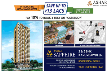 Pay 10% to book and rest on possession at Ashar Sapphire in Mumbai
