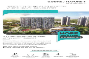 Pay only 10% now and the rest on delivery at Godrej Nature Plus in Gurgaon