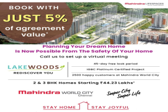 Book with just 5% of agreement value at Mahindra Lake Woods in Chennai