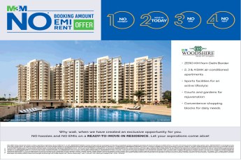 No hassles and no EMIs on a ready to move in residence at M3M Woodshire in Sector 107 Gurgaon