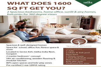 2 Spacious bedrooms home office sunlit airy homes balconies for 360 degree views at Vatika Tranquil Heights in Gurgaon