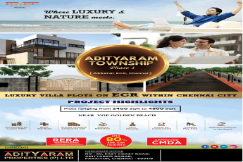 Adityaram Township luxury villa plots on ECR within Chennai City