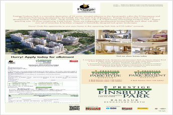 Book 1, 2 & 3 bed apartments Rs 33 Lac at Prestige Finsbury Park, Bangalore