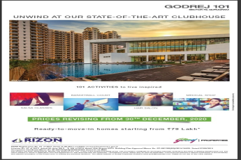 Ready to move in homes starting from Rs 79 lakh at GODREJ 101 Gurgaon